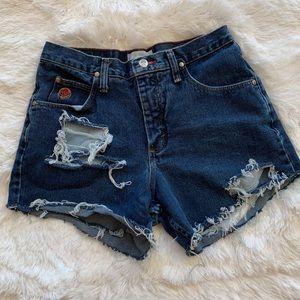 Vintage Wrangler High Waisted Distressed Shorts